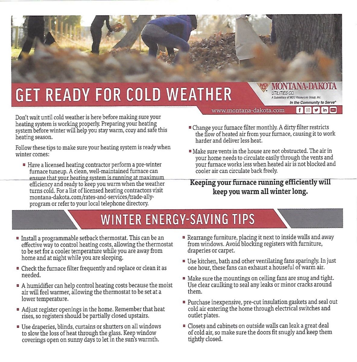 MDU Winter Saving Tips